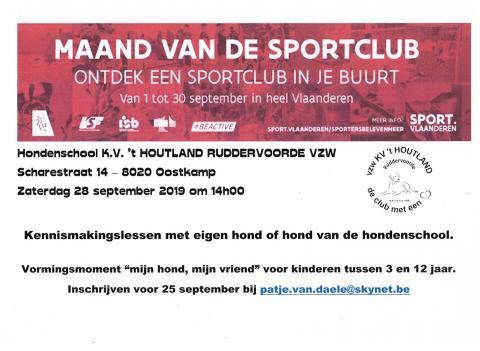 Hondenschool KV 't Houtland - Maand van de sportclub